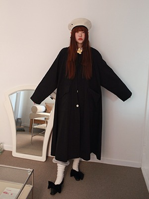 back pleats navy coat