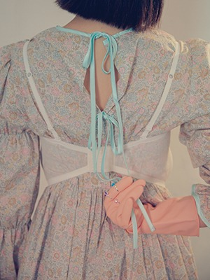 (freckle made♥)mint bow flower maxi dress / 3.9   5:30분 오픈